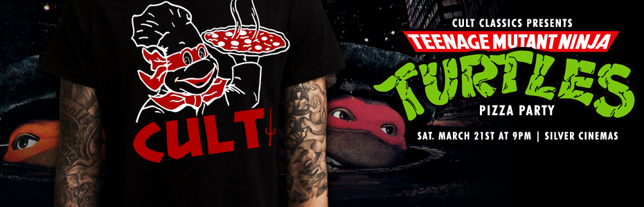 EVENTS: The TEENAGE MUTANT NINJA TURTLES Pizza Party screens on 3/21 – Check out the Event Shirt!